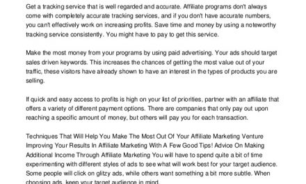 Knowledge Is Money When Working In Affiliate Marketing