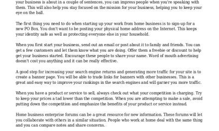Solid Advice For Running Your Home Based Business