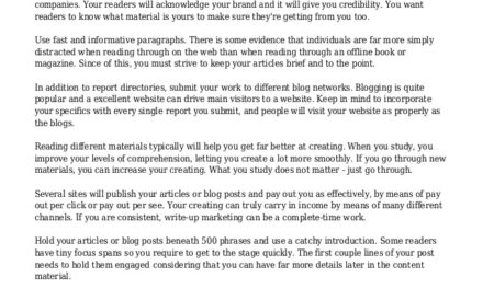 Tips That Can Help You With Article Advertising