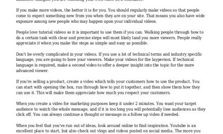 Advice To Consider When Using Video Marketing