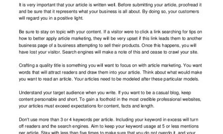 How To Get The Most Out Of Article Marketing.