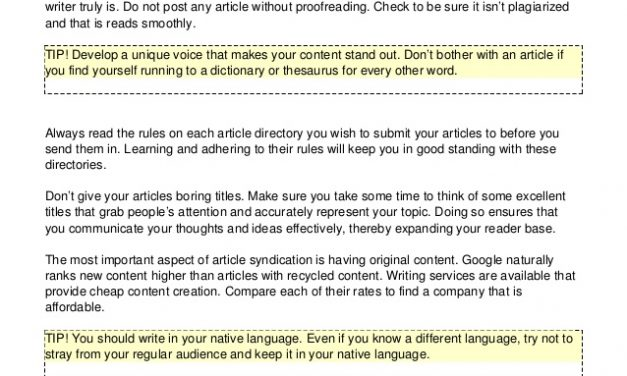 Make Article Promotion Work For You With These Simple Tips