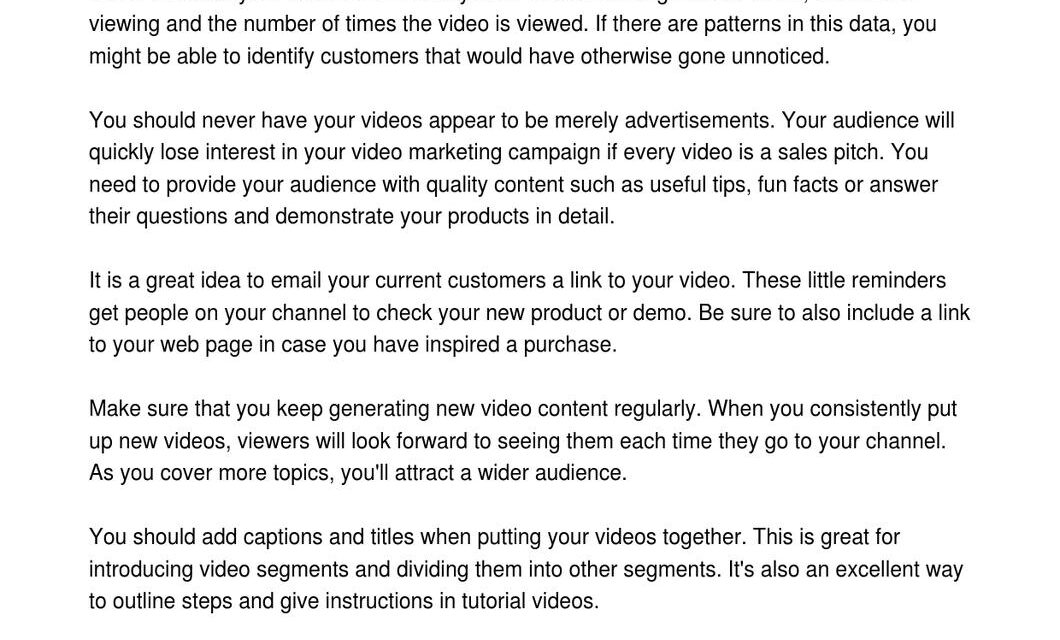Great Source Of Ideas To Help With Video Marketing!