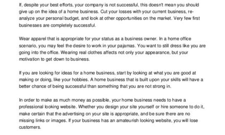 Supplemental Information About A Successful Online Business