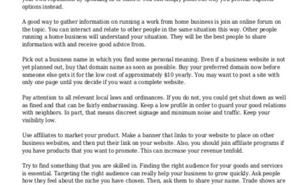 Tips To Be Successful With Your Home Business Enterprise