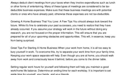 Winning Advice For Anyone Looking At Starting A Home Business
