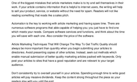 Do You Need To Promote Your Business? Choose Article Promotion.