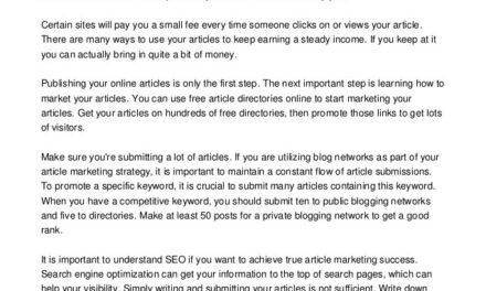 Great Guide On How To Succeed In Article Submission