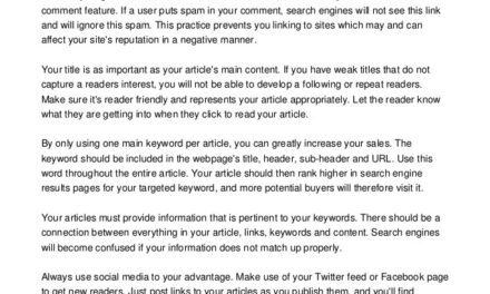 Improve Traffic And Sales With These Article Marketing Suggestions
